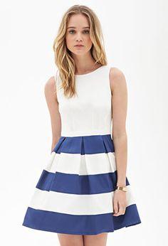 Pleated Stripe Dress | FOREVER 21 - 2000056738
