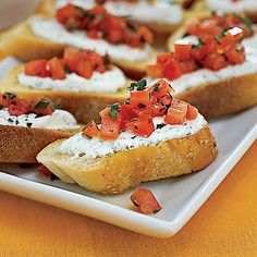 Cheese-and-Tomato Toasts #recipe #appetizer