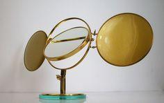 Mid Century Italian, Triple Brass Folding Vanity Table Mirror