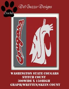 Washington State Cougars Inspired Blanket Crochet Graph Graphghan Pattern WITH WRITTEN INSTRUCTIONS by DelGuzzoDesignStudio on Etsy
