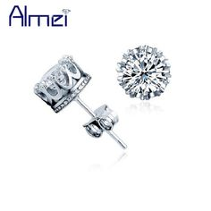 Find More Stud Earrings Information about Fashion Crown Women Earrings CZ Diamond Silver Crystal Jewelry for Men White Rhinestone Brincos De Festa Male Female Bijoux Y048,High Quality silver elephant,China silver bail Suppliers, Cheap silver plated snake chain from Almei Jewelry Store on Aliexpress.com