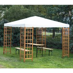 Outsunny 3m x 3m Patio Garden Wooden Framed Gazebo Marquee Sun Shade Party Tent Canopy Shelter Pavilion (Table Set NOT Included)