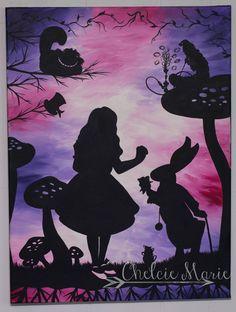 Alice in Wonderland Silhouette Original Acrylic by ChelcieMarieArt