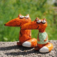 papier-mache Fox figurine / Лисы. Авторская работа. Авторы - Николай и Надежда Поповы