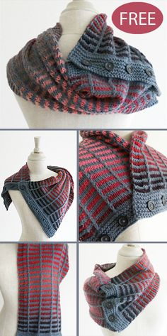 Free Knitting Pattern for 4 Row Repeat Train Track NeckwarmerThanks for this post.Free Knitting Pattern for 4 Row Repeat Train Track Neckwarmer - Versatile buttoned scarf that can be worn as a cowl, shoulder wrap, scarf, and more# crochet Knitting Blogs, Knitting For Beginners, Knitting Designs, Knitting Patterns Free, Knit Patterns, Free Knitting, Crochet Pattern Free, Knit Crochet, Pattern Sewing