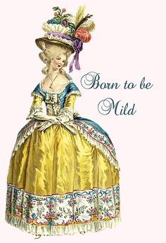 Spring Sale 2017 Born To Be Mild - Sentimental Quotes - Pretty Girl Postcards - Sweet Sayings Card. Postcards. Marie Antoinette Card. Home D
