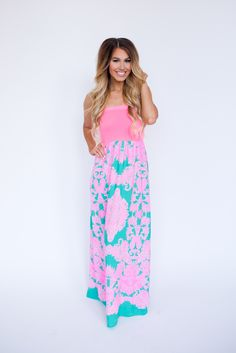 Dottie Couture Boutique - Hot Pink/Emerald Printed Tube Maxi , $42.00 (http://www.dottiecouture.com/hot-pink-emerald-printed-tube-maxi/)