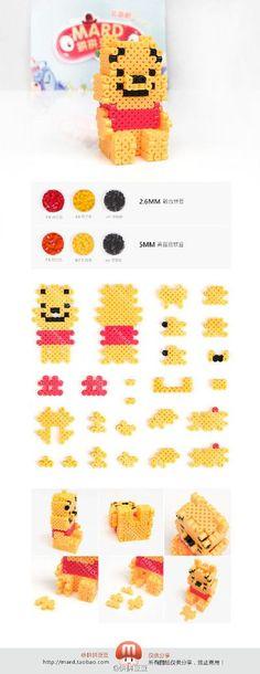 pärla, pärlplatta, pärlplattor, mönster, pärlplattemönster, 3D, Nalle Puh, Disney, pyssel, barnpyssel