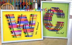 Creative Mommas: Crayon Monograms.. My best friend made me one of these for my new classroom!!