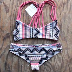 khongboon swimwear - centre reversible criss-cross full-cut handmade bikini