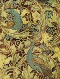 """wallpaper offered by Silver Studios c. 1890 from a Walter Crane design called """"Peacock Garden"""" c. 1889"""