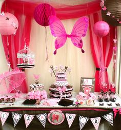 "Photo 2 of 19: Pink And Brown Butterfly / Baby Shower/Sip & See ""Welcome Baby Girl"" 