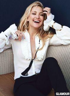 Kate Hudson in Glamour's April issue. Blouse, pants, necklace, bracelets, Saint Laurent by Hedi Slimane. Photo: Patrick Demarchelier