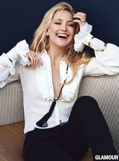 Kate Hudson in Glamour's April issue. Blouse, pants, necklace, bracelets, Saint Laurent by Hedi Slimane. Photo: Patrick Demarchelier