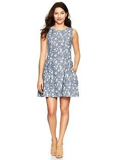 $69.95- - Floral chambray dress