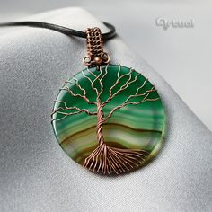 Tree of life pendant wire wrapped jewelry agate tree of by Artual