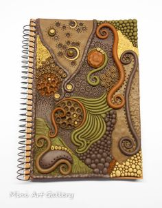 Notebook cover in earthtones- polymer clay handmade. © Mini Art Gallery