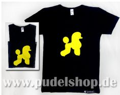 """M6, Ladies T-Shirt """"Black with hot-yellow poodle"""", size M"""