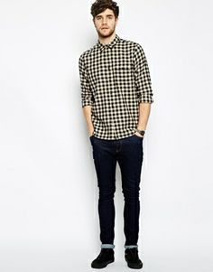 ASOS Check Shirt In Long Sleeve With Ecru And Black Gingham £25