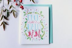 Deck the Halls  Greeting Card by FrameworthyDesigns on Etsy