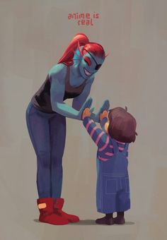 Undyne and Frisk - http://rennerei.tumblr.com/