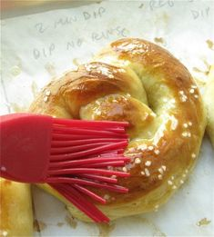 Hot Buttered Soft Pretzels recipe from King Arthur Flour these are soooo good! And easy with my kitchen aid mixer :)