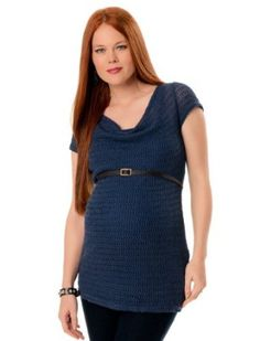 A Pea in the Pod: Short Sleeve Drape Neck Belted Maternity Tunic A Pea in the Pod. $39.99