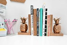 DIY Pineapple Bookends - A Little Craft In Your Day with @CORTfuniture #CORTatcollege #ad