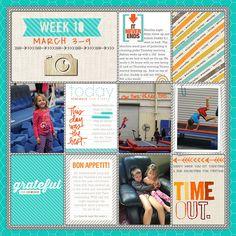 Project Life [digital PL layout inspiration - colors: aqua, tangerine, grey]