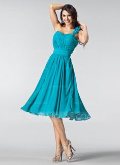 A-Line/Princess One-Shoulder Knee-Length Chiffon Bridesmaid Dress With Ruffle Flower(s) (007005218) - JJsHouse