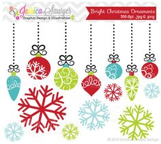 INSTANT DOWNLOAD bright christmas ornament by JessicaSawyerDesign, $3.00