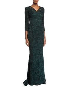 """Dolce & Gabbana 3/4-Sleeve Lace Gown, Dark Green       •Dolce & Gabbana lace gown. •Approx. 68""""L from back shoulder to hem. •Scalloped V neckline. •Three-quarter sleeves, approx. 21""""L. •Scalloped trim at neckline, cuffs, and hem. •Fitted silhouette. •Slight train at back. •Hidden back zip."""