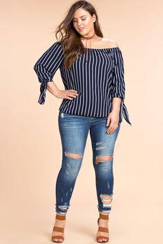 Women's Plus Size Blouses | My Side Stripe Off Shoulder Top | A'GACI