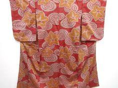 アンティーク 渦巻きに桔梗模様織り出し銘仙