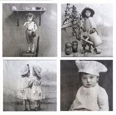 4 Different Single Lunch Paper Napkins for Decoupage Sagen Vintage Children