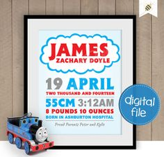 Thomas the Tank Engine themed Baby Keepsake  by PaperBeeDesigns, $16.00