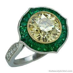 Stephen Russell Yellow Diamond & Emerald Ring