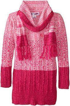 Wonderful Pink-red Derek Heart Big Girls' Long Sleeve Marled Sweater Tunic with matching Scarf
