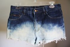 Vintage High-waisted Ombre Bleach Jean Shorts LEI size S/M. $30.00, via Etsy.