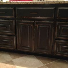 Distressed black cabinets I finished in my boys bathroom!