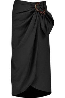 J.W.Anderson Gathered wool-twill midi wrap skirt | THE OUTNET
