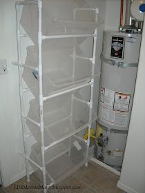Vertical PVC Laundry Sorting System     My son and I built this Vertical PVC Laundry Sorter with Sterlite bins toget...