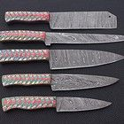 Damascus Chef Knives, Damascus Blade, Damascus Steel, Leather Kits, Leather Roll, Chef Knife Set, Knife Sets, Kitchen Ware, Kitchen Knives
