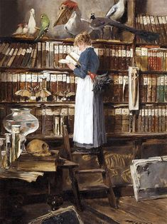 Édouard John Mentha (also Menta) Swiss? / 'Lesendes Dienstmädchen in einer Bibliothek' '[Maid reading in a library]', c. depicts maid standing on a library ladder engrossed in reading a book instead of dusting bookshelves Reading Art, Woman Reading, Reading Books, People Reading, Oeuvre D'art, Book Worms, Maid, Book Art, Books To Read