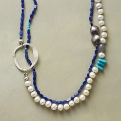 "ODE TO THE OCEAN NECKLACE -- Breaking waves and wide blue seas beckon in our long, handcrafted gemstone necklace combining lapis, pearls, gray quartz, turquoise and sterling silver beads with cast pewter charms. Tie suede necklace to desired length. USA. Exclusive. 36""L."