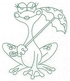 bluework Embroidery Designs | Frog & Umbrella Bluework embroidery design