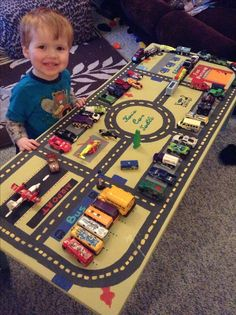 Car play table I made my son from a free coffee table :) love how it turned out.