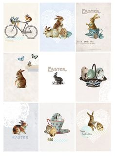 Easter bunnies and eggs Digital PDF ACEO Tags for by tabithaemma