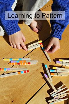 Brilliant pattern activities for preschoolers! SO creative and perfect for quiet time activities too. Plus clothespins are great for strengthening hands and fine motor skills in kids. - Education and lifestyle Quiet Time Activities, Kids Learning Activities, Motor Activities, Infant Activities, Kindergarten Activities, Senses Activities, Preschool Math, Toddler Preschool, Maths