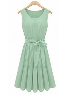 A Line Vogue Sleeveless Green Chiffon Pleated Dress on sale only US$16.56 now, buy cheap A Line Vogue Sleeveless Green Chiffon Pleated Dress at martofchina.com
